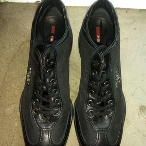 Prada Shoes - Prada leather and fabric sneaker